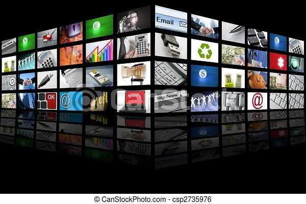 zakelijk, tv, het grote scherm, internet, paneel - csp2735976