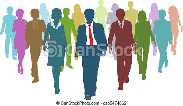 zakenlui, anders, menselijk, de leider van het team, middelen - csp5474862