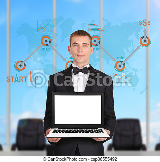 zakenman, draagbare computer - csp36555492