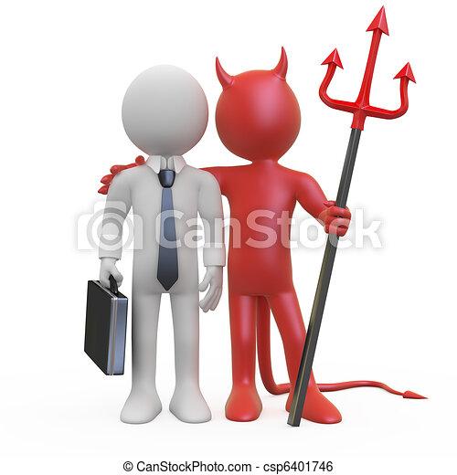 zakenman, duivel - csp6401746