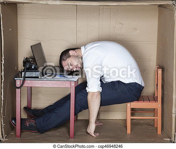 zakenman, kantoor, slapende - csp46948246