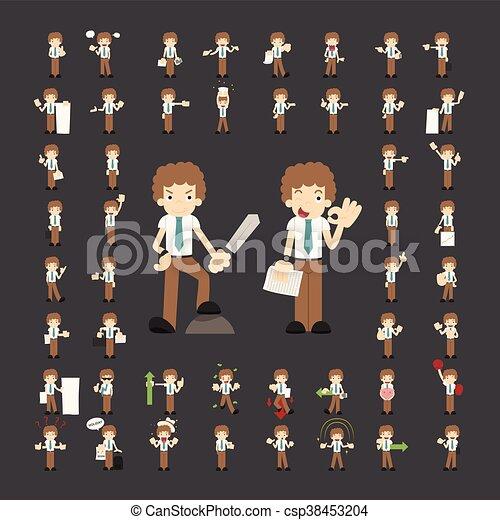 zakenman, maniertjes, set, karakters - csp38453204