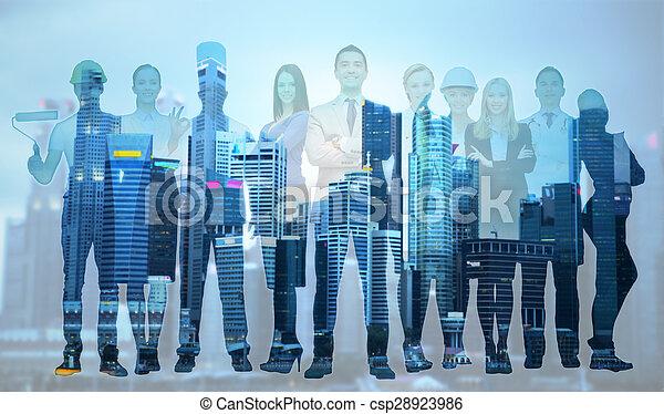 zakenman, op, vrolijke , werkmannen , professioneel - csp28923986