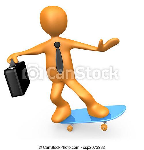 zakenman, skateboard - csp2073932