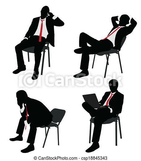 zakenman, stoel, zittende  - csp18845343