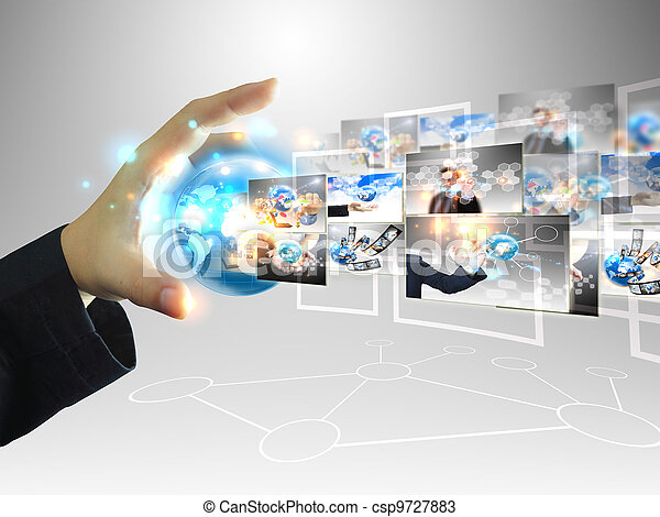 zakenman, .technology, concept, vasthouden, wereld - csp9727883