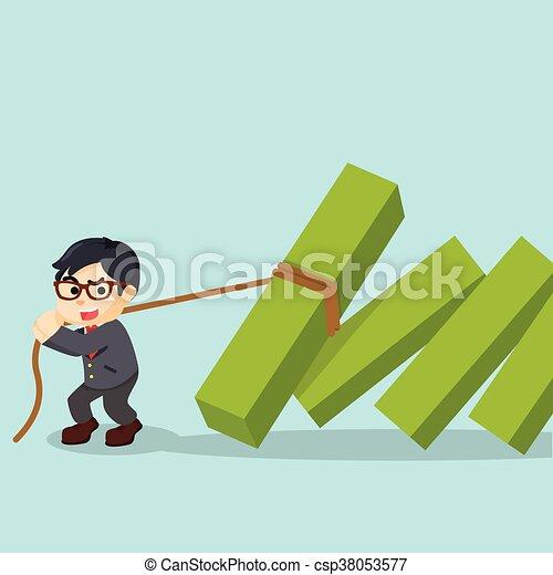 zakenman, trekken, opgewekte, diagrammen - csp38053577