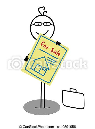 zakenman, verkoop, woning - csp9591056