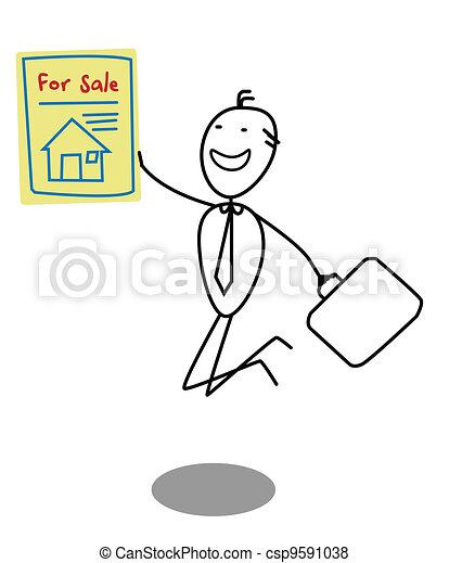 zakenman, verkoop, woning - csp9591038