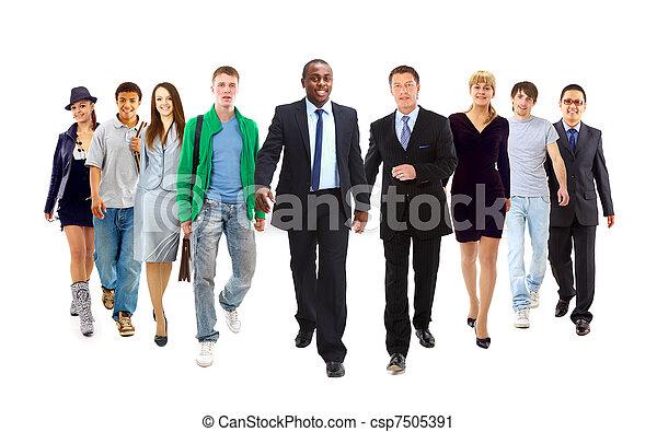 zakenman, vrolijke , jonge, team, staand, haar, voorkant - csp7505391