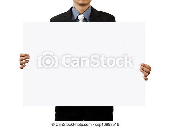 zakenman, witte , leeg, vasthouden, meldingsbord - csp10993518