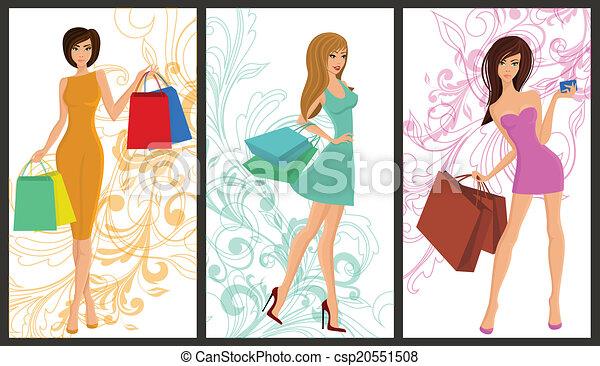 zakupy, dziewczyna, chorągiew - csp20551508