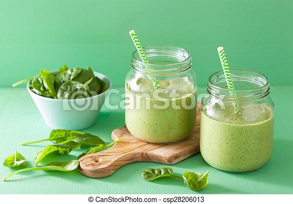 zalamero, sano, espinaca, vidrio, mango, verde, tarros, plátano - csp28206013