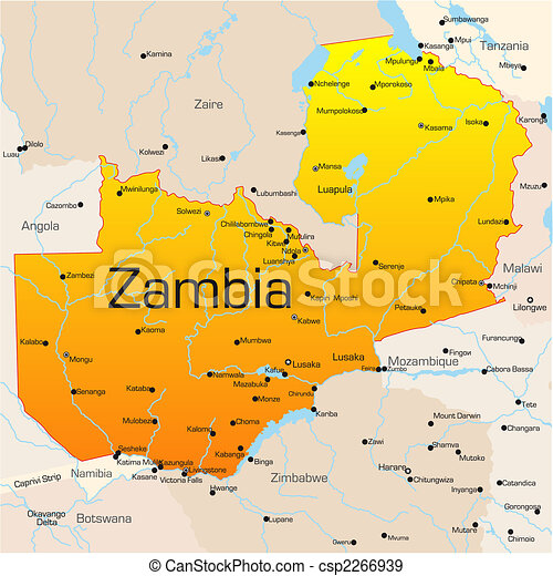 zambia karta Abstract vector color map of zambia country. zambia karta