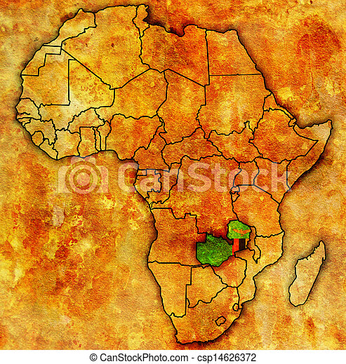 Zambia on actual map of africa. Zambia on actual vintage political ...