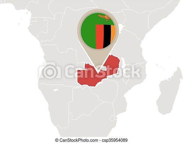 Zambia on world map. Africa with highlighted zambia map and flag.