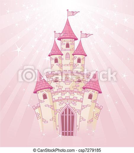 zamek, niebo, różowy - csp7279185