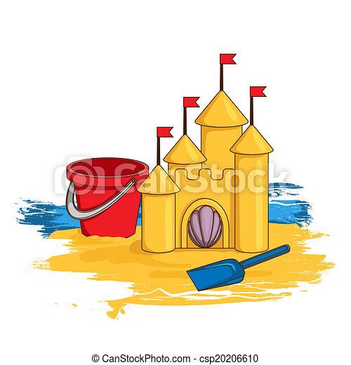 zamek, piasek, rysunek - csp20206610