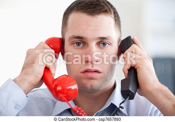 zamknięcie, akcentowany, telefon, do góry - csp7657893