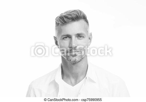 zamknięcie, beauty., concept., glance., sklep, hairdresser., dobry, fryzjer, kasownik przeglądnięcie, obrządził konia, samiec, twarzowy, pociągający, do góry, ageing., rodzaj, model., hair., przystojny, anti, człowiek, dojrzały, dobrze, aparat fotograficzny - csp75990955