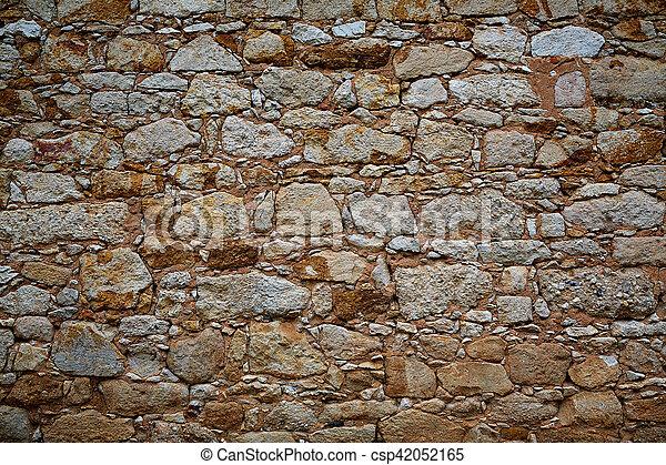 Zamora stone masonry wall detail - csp42052165