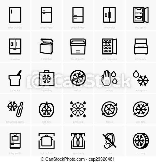 zamrażarka, ikony - csp23320481