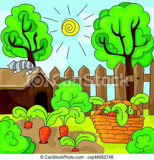 Zanahorias vector jard n ilustraci n caricatura - Dessin de potager ...