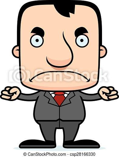 zangado, businessperson, caricatura, homem - csp28166330