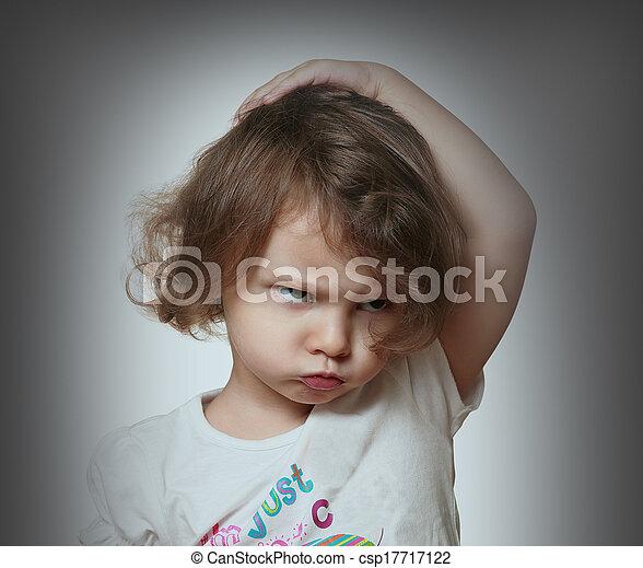 zangado, cinzento, experiência., closeup, retrato, criança - csp17717122
