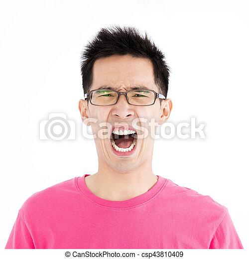 zangado, jovem, asiático, retrato, casual, homem - csp43810409