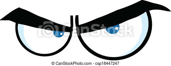 zangado, olhos, caricatura - csp18447247