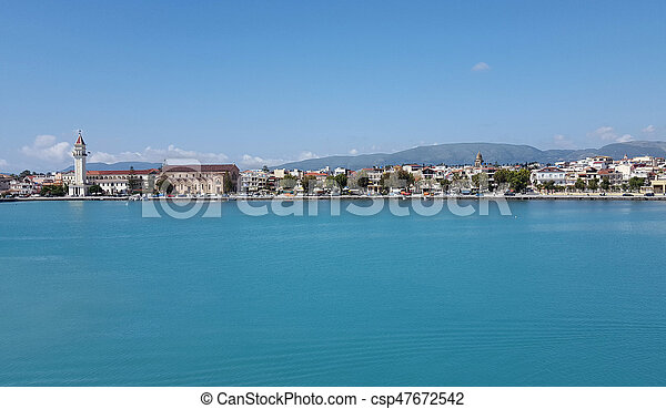 Zante town panorama from the sea - csp47672542