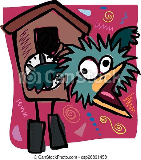 Zany Cuckoo Clock A Cartoon Image Of A Crazy Cuckoo Clock