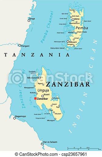 Map Of Africa Zanzibar.Zanzibar Political Map