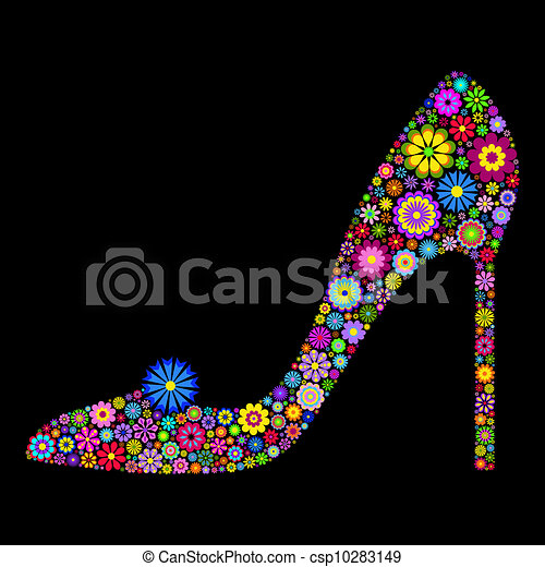 zapato negro, plano de fondo - csp10283149