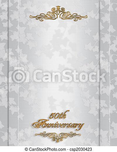 Wspaniały Zaproszenie, rocznica, 50th, ślub. Złoty, 50th, rocznica ślubu FI08