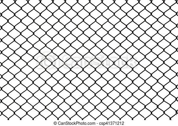 Zaun Metall Freigestellt Masche Schwarz Weisses Ausschnitt