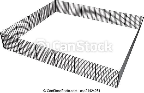 Vektor Illustration Zaun Rechteckig Masche Geschlossene Sections