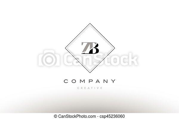 Zb Z B Retro Vintage Black White Alphabet Letter Logo Zb Z B