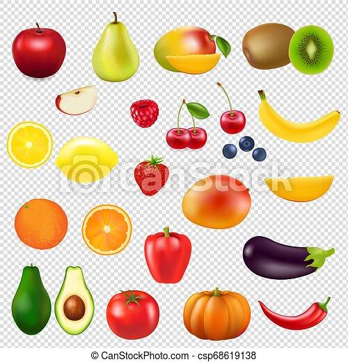 zbiór, świeży owoc, przeźroczysty, tło - csp68619138