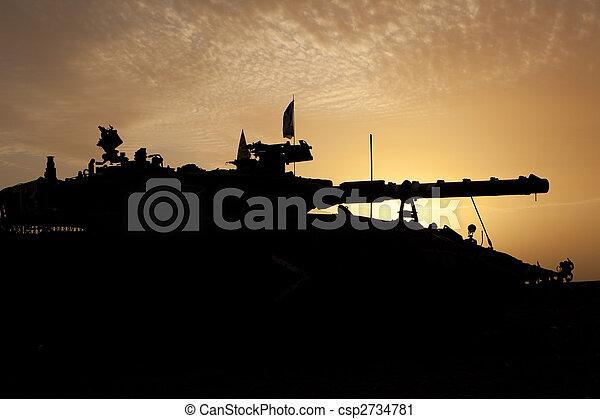 zbiornik, sylwetka, zachód słońca - csp2734781