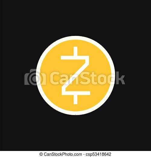 Zcash Icon Cryptocurrency On A Gray Background