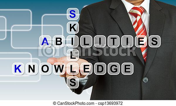 zdolności, biznesmen, sformułowanie, wiedza, zręczność - csp13693972