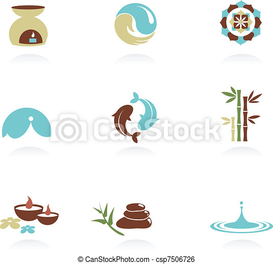 zdrój, zen, zbiór, ikony - csp7506726