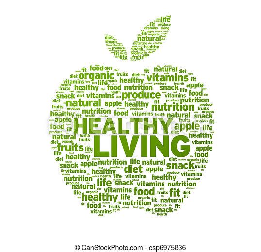 zdrowe życie, jabłko, ilustracja - csp6975836