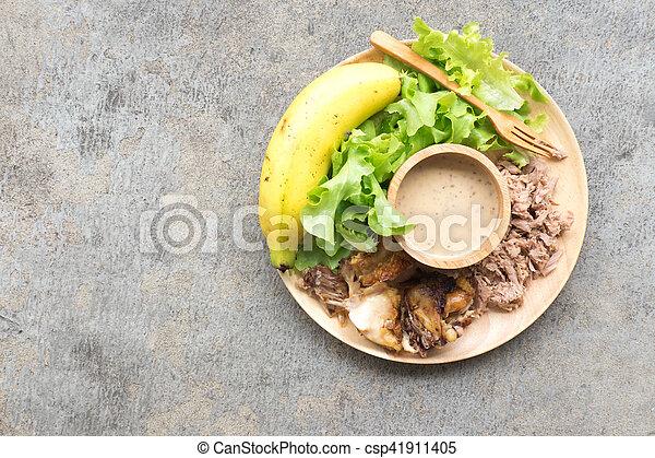 zdrowe jadło, drewno, taca, swojski - csp41911405