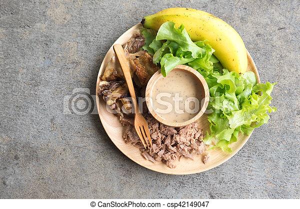 zdrowe jadło, drewno, taca, swojski - csp42149047