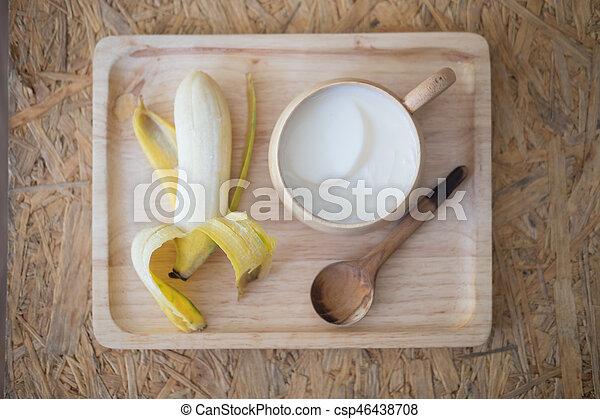 zdrowe jadło, komplet, taca, drewno - csp46438708