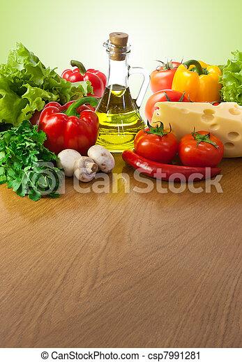 zdrowe jadło, stół - csp7991281