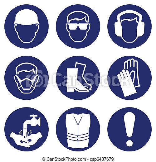 zdrowie, bezpieczeństwo, ikony - csp6437679